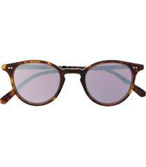 garrett leight mirrored lense sunglasses - brown