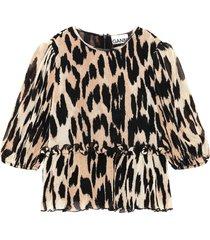 pleated leopard print georgette blouse