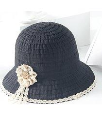 cappellino da sole da viaggio all'aperto da donna in cotone pieghevole con motivo a pieghe, in cotone