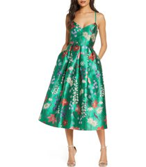 women's eliza j spaghetti strap fit & flare dress, size 18 - green