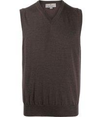 canali v-neck knitted vest - brown