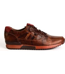 zapato sneaker para hombre san polos 3361 crosta café-rojo