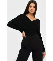 missguided wrap crossover crop jumper stickade tröjor