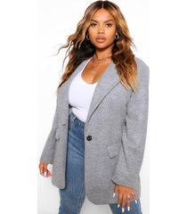 wool look single button coat, silver