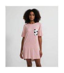 camisola curta em viscolycra listrada com bolsinho | lov | rosa | gg