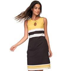 vestido gris curto estampado preto/amarelo - kanui