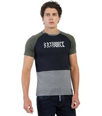 camiseta combinada verde militar, azul navy y gris jaspe oscuro manpotsherd polonia