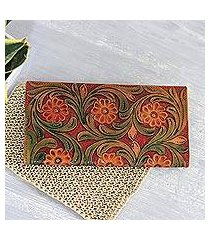leather wallet, 'floral glory' (india)