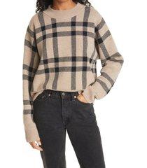 women's la ligne plaid cashmere sweater, size x-large - beige