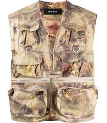 misbhv abstract-print fisherman vest - brown