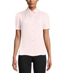 anne klein collared button-front blouse