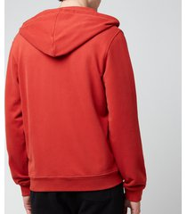 belstaff men's patch logo zip-through hoodie - red ochre - xxl