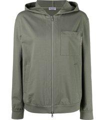 brunello cucinelli patch-pocket hooded sweatshirt - green