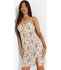 petite geplooide bloemenprint jurk met bandjes, ivory