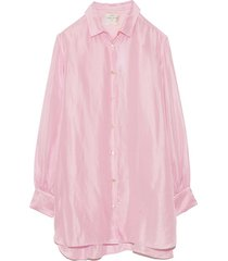 habotai silk top in pink seashell