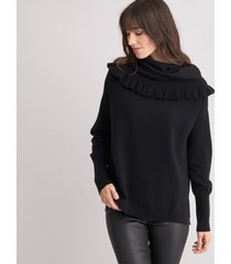 off shoulder trui met ruchezoom