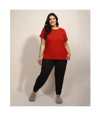 pijama feminino plus size com estampa mini print de corações manga curta preto