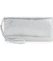 mesh metallic foldover clutch