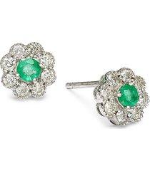 diana m jewels women's 14k white gold, emerald & 0.41 tcw diamond stud earrings