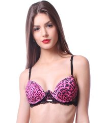 sutiã simony lingerie push up aurora animal print rosa