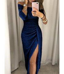 azul marino brilho abertura diseño medias mangas con hombros descubiertos vestido