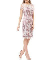 women's js collection floral lace satin cocktail dress, size 10 - pink