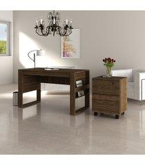 conjunto de escritório com mesa e gaveteiro 01 nogal dallas - tricae