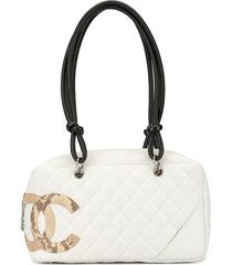 chanel pre-owned cambon line diamond quilted tote - white