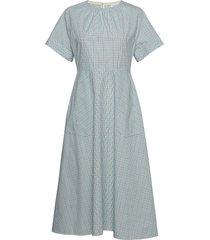 farmhouse chk pocket dress ss knälång klänning blå calvin klein
