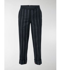 thom browne vertical stripe cropped trousers