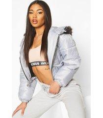 faux fur trim crop puffer jacket, grey
