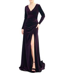 mac duggal women's front-slit velvet gown - eggplant - size 4