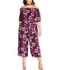 city chic trendy plus size off-the-shoulder printed jumpsuit