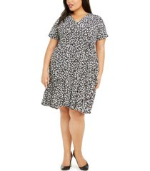 robbie bee plus size tiered floral-print dress