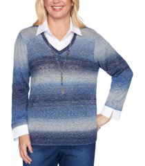alfred dunner petite autumn harvest ombre layered sweater