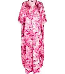 märta larsson vestido kaftan dunaway com padronagem - rosa