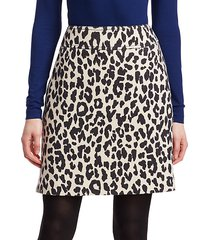 leopard print wool mini skirt