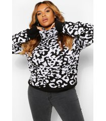 plus luipaardprint jacquard coltrui, black