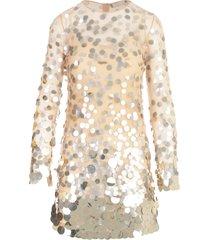 blumarine embroidered paillettes l/s mini dress