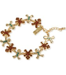 inc gold-tone crystal & bead gingerbread flex bracelet, created for macy's