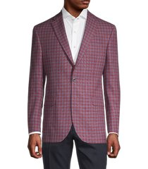 saks fifth avenue men's conway standard-fit wool & silk check sports jacket - rust - size 42 s