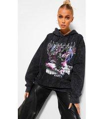 acid wash flame print hoodie, charcoal
