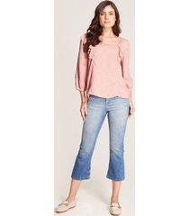 jeans crop desgastado azul 6