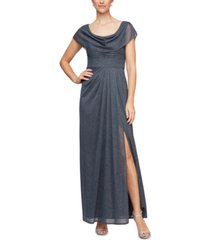 alex evenings cowlneck glitter-mesh gown