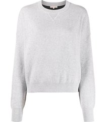 filippa k soft sport long-sleeve fitted sweatshirt - grey