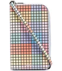 ganni ziparound grid wallet - blue