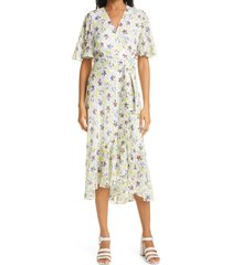 women's tanya taylor blaire floral flutter sleeve silk & cotton dress, size 6 - yellow