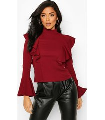 crepe ruffle detail top, berry