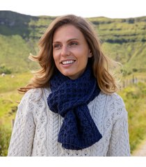 deep water blue cozy aran scarf