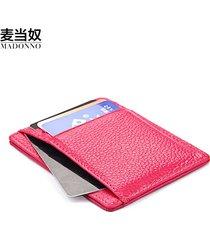 men women leather rfid blocking small bus card photo holder thin wallet